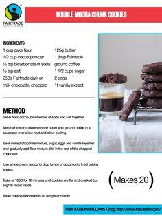 Double Mocha Chunk Cookies #Fairtrade Cake Flour, International Recipes, Recipe Using, Fair Trade, Mocha, Vanilla, Cookies, Chocolate, Food