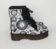 Steampunk boots, Steampunk shoes, Steampunk fashion, Clock, Clockwork, Dials, Rustic, vintage, retro. handmade, unique funky goth punk shoes by RockYourSole on Etsy