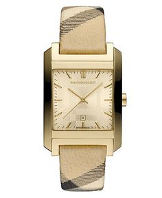 Burberry Watch with Check Leather Strap   Check!