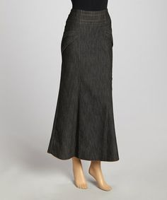 Another great find on #zulily! Black Stitch-Line Maxi Skirt - Women & Plus #zulilyfinds