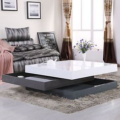High Gloss Square Storage Rotating Coffee Table w 3 Layers Living Room Furniture Round Wooden Coffee Table, Black Coffee Tables, Modern Coffee Tables, Luxury Furniture, Furniture Design, Furniture Price, Diy Furniture, Luxury Homes Interior, Interior Design