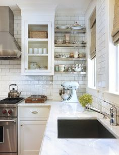 kitchens - bamboo roman shades white kitchen cabinets marble countertops stainless steel floating shelves subway tiles backspalsh  Stunning classic