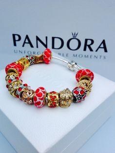 Jewelry Pandora charms Bracelet GOLD Charms 18k by GlowingShine
