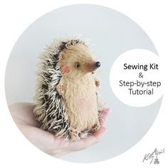 Sewing Kit Mini Hedgehog 11cm with Tutorial by KittyAprilHandmade