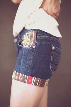 DIY > PATTERN UP YOUR DENIM SHORTS- pocket and hemline patterns..  Buy cheap pattern shirts at goodwill or rue 21!