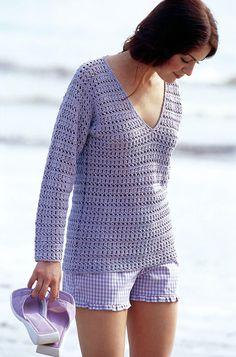 Gehäkelter Damen-Pullover mit V-Ausschnitt