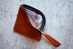 Ground Zip Coin Case [ Camel/DarkBrown ] - Leather Factory Roberu Ground
