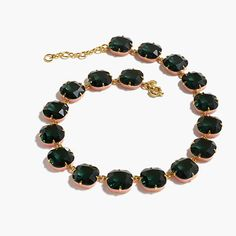 "We love this emerald-colored necklace with pretty pink enamel edges. <ul><li>Length: 18 1/2"" with a 2 1/4"" extender chain for adjustable length.</li><li>Brass, enamel epoxy.</li><li>Shiny gold plating.</li><li>Import.</li><li>We also carry a bracelet and earrings in this design.</li></ul>"