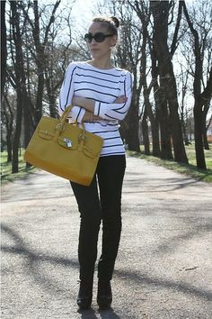 Green, yellow, stripes... (by Jovana Bovan) http://lookbook.nu/look/3381189-Green-yellow-stripes