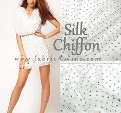 White Polka Dots. Black Dots Chiffon. Dot Silk par fabricAsians