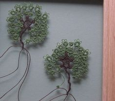 Tatted Lace See-thru Picture of Summer Trees With Pewter Accents in a 9 1/2 x 12 1/2 Hand Rubbed Oak. $89.00, via Etsy.