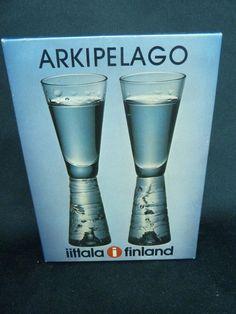 Iittala Nuutajärvi Vintage 2* Archipelago schnapps Glasses Design Timo Sarpaneva