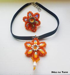 Beads Embroidery Necklace  Kaleidoscope by IzabelaCichocka on Etsy