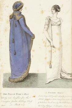 La Belle Assemblée: The Polish Robe & Hat - Evening Dress, 1807