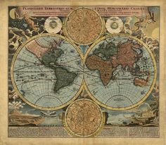 1716 Old Vintage Detailed World Map Reproduction Rolled CANVAS PRINT 27x24 in. #Vintage
