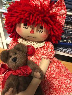 pRiMiTiVe FoLk ArT RaGGeDy Ann dOll / Annie & Her Teddy Bear