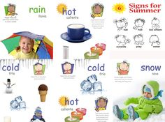 Weather Poster Pack Baby Signs® Printable Poster Pack with signs for Cold, Hot, Summer Signs, Rain, Snow and Cold/Hot.  Poster Packs are Spanish Inclusive!
