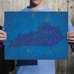 Kentucky   City Prints Map Art
