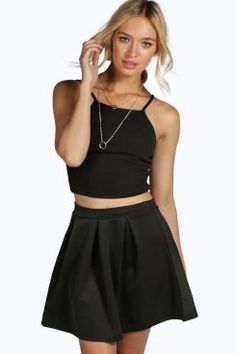 Sophie Solid Colour Box Pleat Skater Skirt at boohoo.com