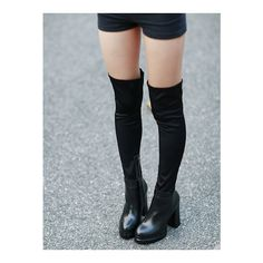 SheIn(sheinside) Black Chunky High Heel Zipper PU Boots (75 BAM) ❤ liked on Polyvore featuring shoes, boots, black, zipper boots, black platform boots, high heel platform boots, chunky high heel boots and platform boots