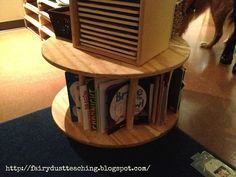 Book shelf out of an old wooden spool