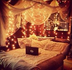 Anyone else think today should be Look at this bedroom inspiration bed DIY cosy room decor room ideas girly bedroom wedreambedrooms Cosy Room, Cozy Bedroom, Dream Bedroom, Light Bedroom, Girls Bedroom, Fall Bedroom, Magical Bedroom, Light Canopy, Christmas Bedroom