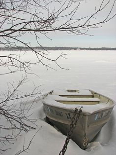 boat covered in snow