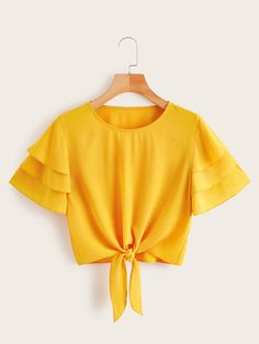 Diy Crafts - Shop Layered Sleeve Knot Hem Blouse at ROMWE, discover more fashion styles online. Girls Fashion Clothes, Teen Fashion Outfits, Mode Outfits, Outfits For Teens, Summer Outfits, Girl Outfits, Fashion Dresses, Stylish Dresses, Crop Top Outfits