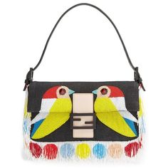Women's Fendi 'Bird' Beaded Baguette ($2,650) ❤ liked on Polyvore featuring bags, handbags, clutches, beaded purse, fringe purse, fendi purse, white clutches and beaded handbags