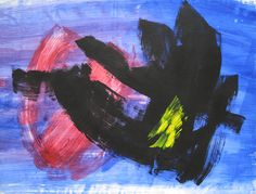 'Composition' by Gerard Schneider Gouache on Paper: 54 x 72 cm Signed & Dated 1974