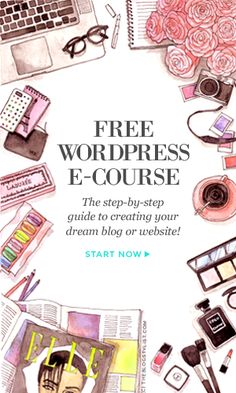Free beginner WordPress e-course: A step-by-step guide to creating your dream bl Marketing Online, Marketing Digital, Affiliate Marketing, Internet Marketing, Web Design, Media Design, Blog Tips, Travel Blog, Branding