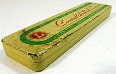 vintage pencil box - LINTON Pencil Company - yellow tin - 1940s