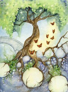 Tree of Life /Fantasy Fine Art Print - - The Butterfly Tree - whimsical, secret garden, nature, green, paradise Art And Illustration, Fantasy Kunst, Fantasy Art, Art Fantaisiste, Butterfly Tree, Butterflies, Drawn Art, Whimsical Art, Tree Art