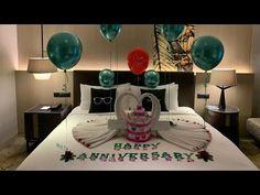 Hotel Room Decoration, Romantic Room Decoration, Romantic Bedroom Decor, Hotel Decor, Room Decor Bedroom, Marriage Anniversary, Anniversary Scrapbook, Anniversary Surprise, Wedding Anniversary