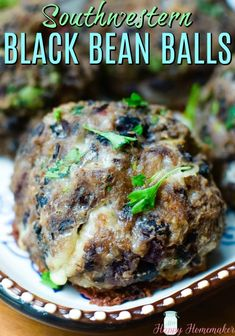 Southwestern Black Bean Balls - a meatless or vegetarian alternative to a meatball with a Mexican/Southwestern flare. Such a simple recipe and oh so good! Veggie Dishes, Tasty Dishes, Veggie Recipes, Cooking Recipes, Cooking Tips, Healthy Black Bean Recipes, Healthy Recipes, Yummy Recipes, Vegetarian Entrees
