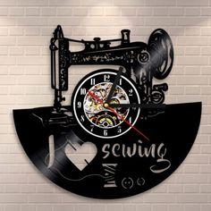 Sewing Machine Vinyl Record Fashion Handmade Hobby Present for Woman Wall Clock
