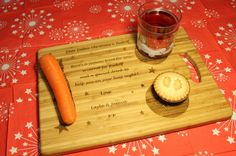 """""""Christmas Eve, Santa & Rudolf"""" Personalised Board / Serving Tray / Plate Father Christmas, Christmas Eve, Personalised Chopping Board, Beeswax Polish, Wine Bottle Gift, Wooden Gifts, Christmas Delivery, Serving Platters, Love Gifts"""