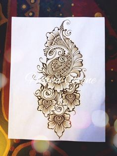 Henna paste on paper, another way to doodle.