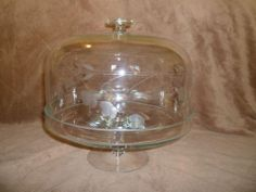 PRINCESS HOUSE CRYSTAL CAKE PLATE Heritage Floral dome cover flower pedestal