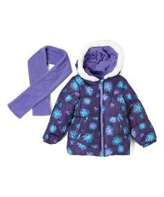 Deep Purple Floral Puffer Coat & Scarf - Infant, Toddler & Girls #zulily #zulilyfinds
