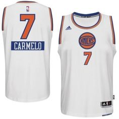 Carmelo Anthony Authentic In White Adidas NBA New York Knicks 2014-15  Christmas Day   89960ac1337e