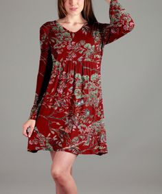 Red & Gray Floral Tunic - Plus Too
