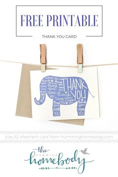 FREE printable elephant thank you card from The Humming Homebody. Cute for baby shower or kids birthday!