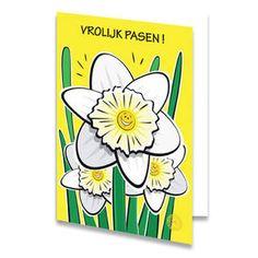 Een paaskaart van drie grote narcissen. Om de bloemen zijn nog wat groene sprietjes geplaatst, verder is de kaart geel. De narcissen hebben gezichtjes die blij kijken. Boven de bloemetjes staat de tekst ''VROLIJK PASEN!'' geschreven. Aan de binnenkant van het paaskaartje is de achtergrondkleur wit met links een narcis zonder steeltje.