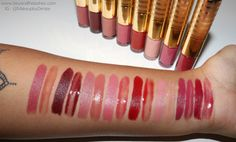 Tarte the lip sculptor lipstick & lipgloss: Left to Right: Sass, Rouge, Vip, Voltage, Harlequin, Basic, Renegade, Intoxicating