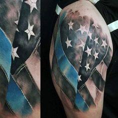 Realistic Waving American Flag Thin Blue Line Mens Half Sleeve Tattoo
