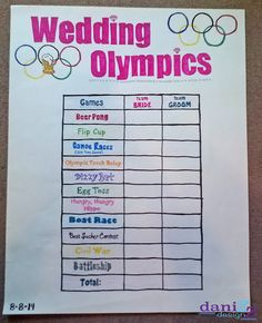 Wedding Olympics: Bridesmaids vs Groomsmen - 11 different drinking games with directions and FREE Printable directions