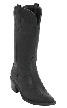 Roper Women's Black w/ Black Vine Embroidery Pointed Toe Western Fashion Boots