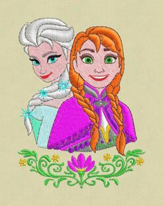 Embroidery design Frozen Anna Elsa pes hus jef ask another format by ViolaFashion on Etsy https://www.etsy.com/listing/215475445/embroidery-design-frozen-anna-elsa-pes
