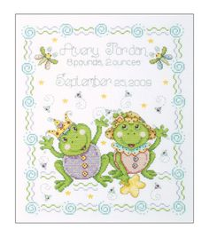 Tobin Birth Record Counted Cross Stitch Kit Frog FamilyTobin Birth Record Counted Cross Stitch Kit Frog Family,
